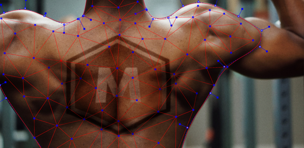 Boris FX MochaPro PowerMesh used to track the musculature and skin of a man's back.