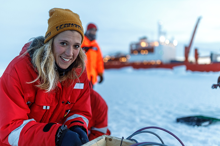 Friederike Krüger was on board the Akademik Federov to report on the climate research of the MOSAiC expedition Photo Courtesy of Mario Hoppmann