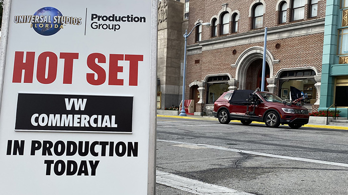 Universal Studios Florida Production Group Hot set for 2020 VW commercial shoot on the Backlot.