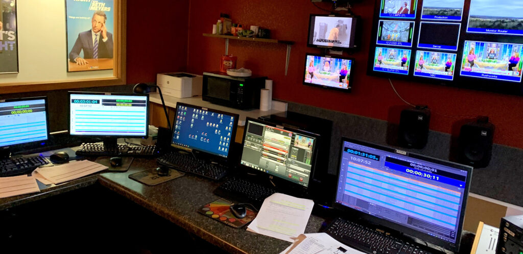 Control room at WJFW-TV featuring AirBox Neo-20 servers for program and commercial playout