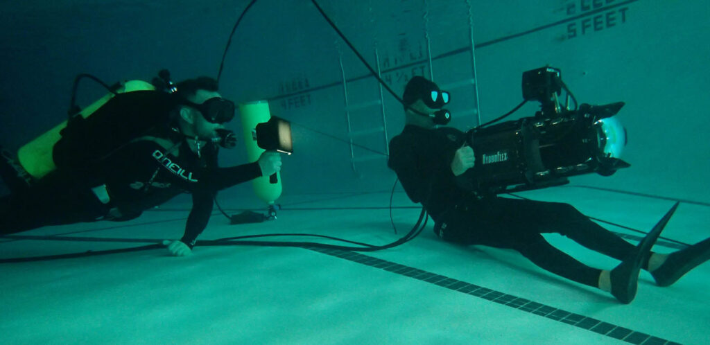 Litra lights the underwater action for Pete Romano