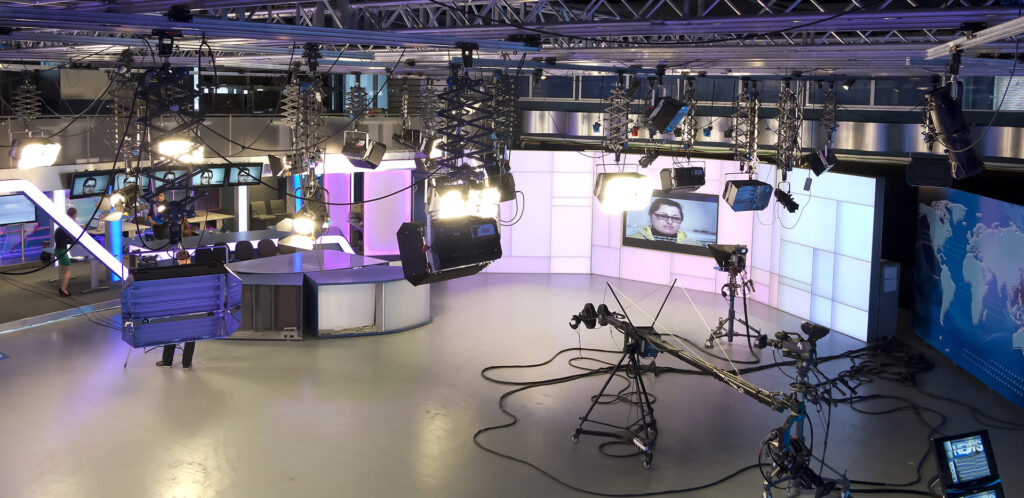 Television studio equipment, spotlight truss and professional ca