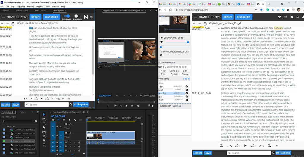 Instantly Create Video Sequences in Premiere Pro by Editing Text from Transcripts in Premiere Pro, with Digital Anarchy
