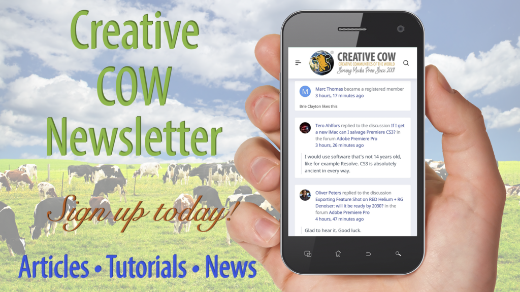 Sign Up Today for the Creative COW Newsletter!