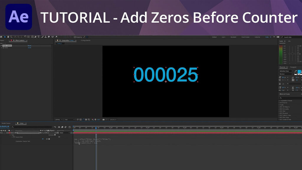 After Effects Tutorial Add Zeros Before Counter Andy Ford